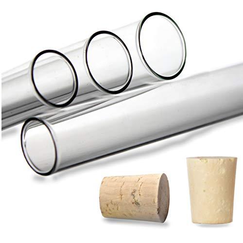 100Reagenzgläser aus Laborglas mit Stopfen aus Naturkork - Dickwandig, 160 x Ø16 mm, 100