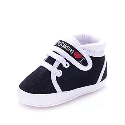 Amison Niedlich Baby Säugling Kind Junge Mädchen weiche Sohle Leinwand Sneaker Kleinkind Schuhe (0-6 Monate, Schwarz)
