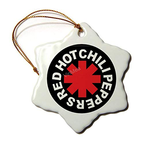 VinMea Ceramic Ornament Red Hot Chili Peppers Hexagon Keepsake Xmas Holiday Tree Decoration Birthday Gifts