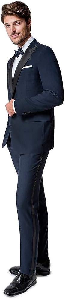 Paul Betenly Men's Navy Blue with Black Peak Lapel Tuxedo