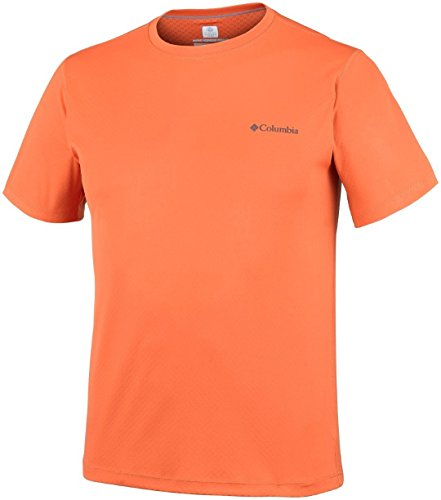 Columbia T-shirt à Manches courtes Homme, ZERO RULES SHORT SLEEVE SHIRT, Polyester, Orange (Heatwave), Taille: M, AM6084