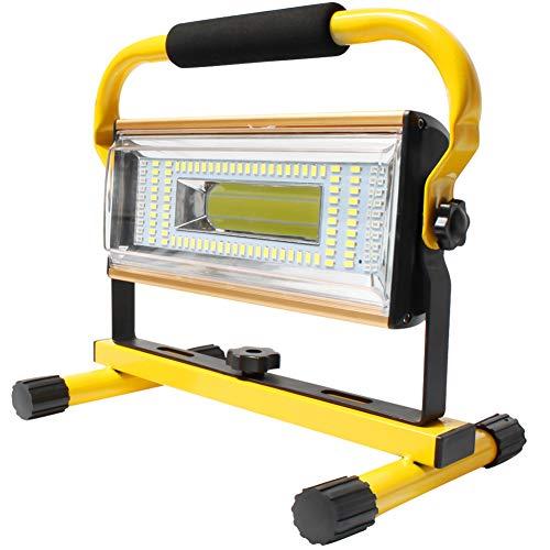 Orchidtent LED Luz de Trabajo USB recargable 100W, Foco LED Trabajo Recargable 7000 lumenes, 6 Modos, Portátil Luz de Inundación Soporte Luces de Trabajo con Rotación de 360 °(Amarillo)