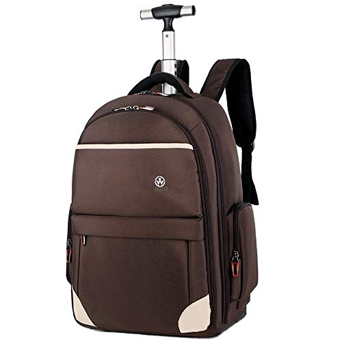 DHTOMC Trolley Bag Rolling backpack for Adult School Bag Baggage Backpack with Wheels Travel Camping Waterproof Lightweight Boys Backpack Xping (Color : Brown, Size : 21inch)