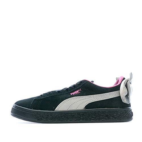 Puma Mädchen Suede Bow AC PS Sneaker, Schwarz Black-Fuchsia Purple 10, 34 EU