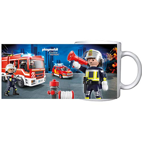 PLAYMOBIL United Labels City Action-Tasse Becher Cup Kaffee Feuerwehr, 320 ml, Bunt, 320Ml