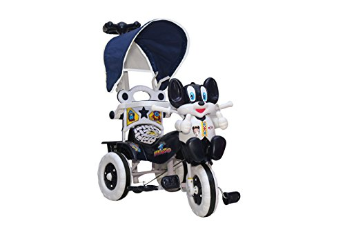 Amardeep and Co Baby Tricycle 86*64*33 cms 1-3 yrs W/Shade and Parental Control (Navy Blue) - Navy-Blue1522MZ