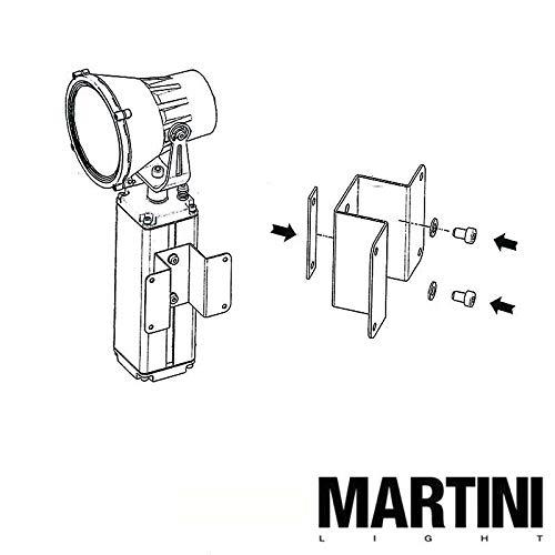Martini Lux 180 Wandhalterung für Projektor grau schwenkbar mit Sockel Scheinwerfer aus Aluminium