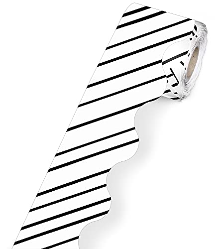 Carson Dellosa Kind Vibes Striped Rolled Scalloped Border—Black and White Stripe Border for Bulletin Boards, Desks, Lockers, Homeschool or Classroom Decor (36 ft)