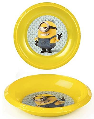 Plato Hondo Minions, Plástico Duro. Vajilla Infantil Set 2, Cuenco Infantil Reutilizable 21 cm