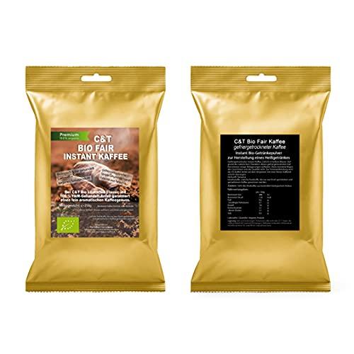 C&T Bio Instant Kaffee Löskaffee, 500g fair gehandelt, fein aromatisch, löslicher Kaffee gefriergetrocknet mit Koffein