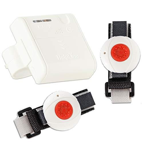 Helpline Mini für Zwei: Kleiner mobiler Hausnotruf mit 2X wasserdichtem Notrufarmband und Gürtel Clip für die häusliche Pflege; Notrufsystem mit 2X Funk Notruf Armband; Notrufknopf für Senioren