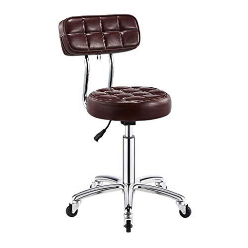 Barkruk hydraulische bank met wielen en draaibare rugleuning stoel salon kruk verstelbare schoonheid kruk stoel spa kruk met rugleuning PU-leer 13 inch groot zitkussen barkruk