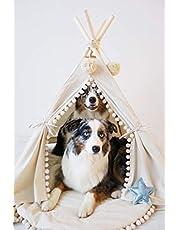 MINICAMP Zwierzę domowe tipia legowiska dla psów legowiska dla kotów duże łóżka dla psów legowiska dla psów legowiska dla psów 100% ręcznie robione w UE z dwustronną matą (duża)