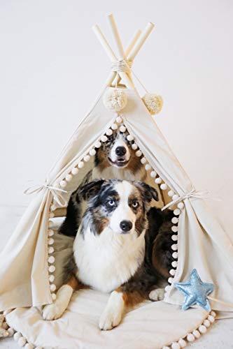 MINICAMP Pet teepee hondenbedden grote hondenbedden luxe hondenbedden uk 100% handgemaakt in EU met dubbele side playmat!, Large, Beige, off white, natural canvas color
