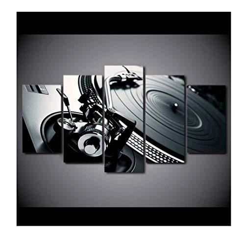 Póster Cuadros En Lienzo 5 Piezashd Impreso 5 Piezas Lienzo Arte Dj Música Reproductor De Cd Pintura Cuadros De Pared Modulares Para Sala De Estar8X14Inx2,8X18Inx2,8X22Inx1