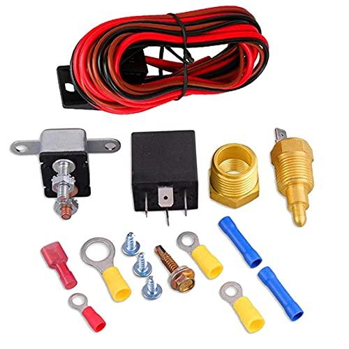 XINLIN Ruderude 185-175 Grados Coche Radiador eléctrico Ventilador de refrigeración Termostato Temperatura Interruptor de relé 60A Kit de relé
