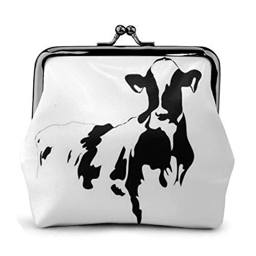 Monedero de vaca en blanco y negro de piel sintética...