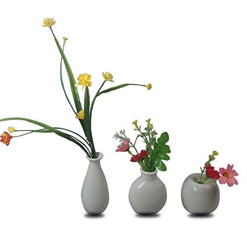 3 Mini Little Buddies Ceramic Bud Vases for Flowers, Plants Floral Decor, Vintage Collectible Vases, Vintage Porcelain (White)