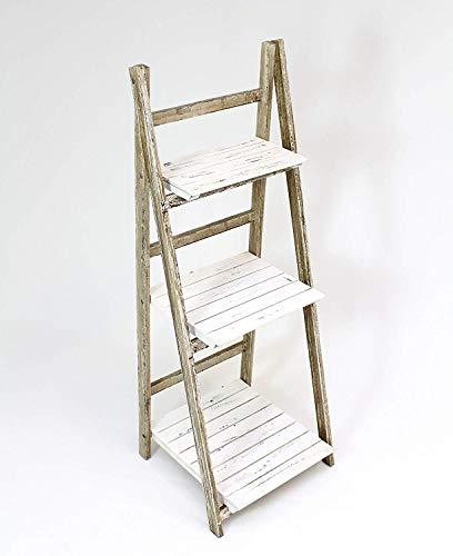 FRANK FLECHTWAREN Klapp-Regal aus Holz im Shabby Style, weiß/braun, 3 Böden, Blumentreppe, Pflanzenregal