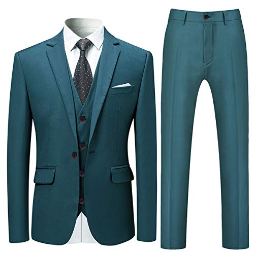 Cloudstyle Men's 3-Piece Suit One Button Slim Fit Solid Color Jacket Smart Wedding Formal Suit Lake Blue