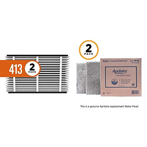 Aprilaire 413 Replacement Air Filter for Aprilaire Whole Home Air Purifiers, Healthy Home Allergy Filter, MERV 13 (Pack of 2) + 10 Replacement Water Panel for Aprilaire Whole House Humidifier Models