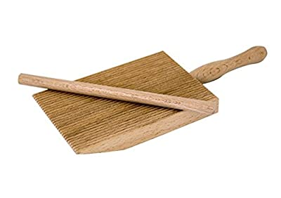 "Tredoni Professional Gnocchi/Garganelli Wood Paddle Slanted Ridge Board Pasta Maker + Stick, 3.6x5"" (9x12.5 cm)"