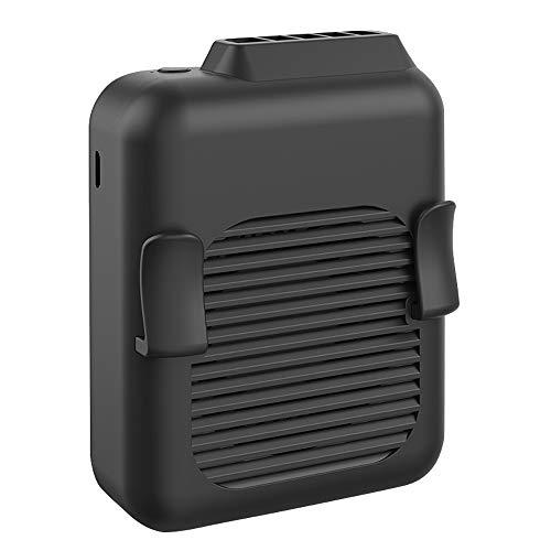 Ventilador colgante de cintura recargable por USB 4000 HAM con batería para colgar en el cuello, portátil, de viento alto, color negro