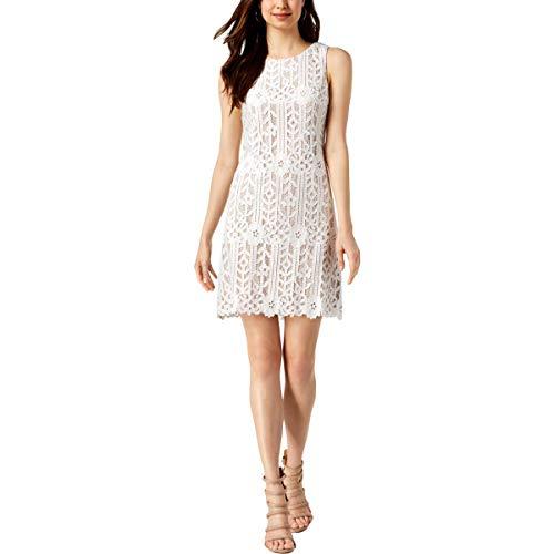 Jessica Howard Women's Sleeveless Lace Shift Dress, Ivory/Beige, 12