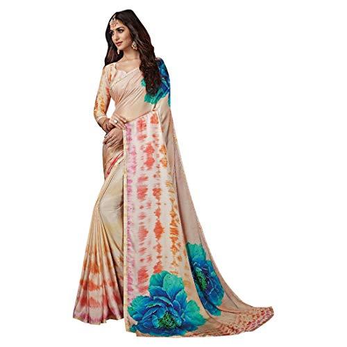 ETHNIC EMPORIUM Dames bedrukt Noble Satin Swarovski steen werk saree mooie blouse Sari Indiase mode-vrouwenpartij formele 8112 6,25 m zoals getoond