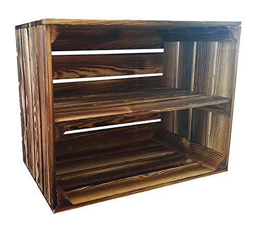 Caja de madera para fruta o vino, color oscuro, 50 x 40 x 30 cm, con estante largo