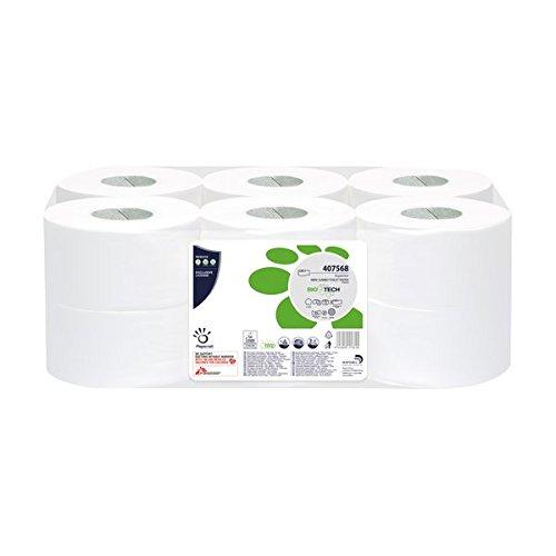 Papernet 407568 Biotech toiletpapier, Mini Jumbo Pure cellulose, zeil, embossing micro zagen, 12 rollen, wit
