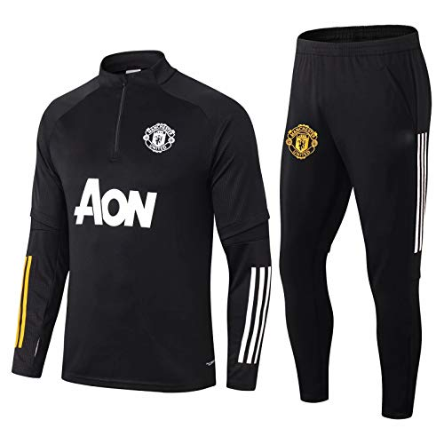 LZMX Fußballspiel Fußball Kleidung mit Langen Ärmeln Half-Zip-Top + Pants 2-teiligen Offizielle Fußball-Geschenk Trainingsanzug Manchester United Football Uniform Verein Uniform Trainings-Uniform