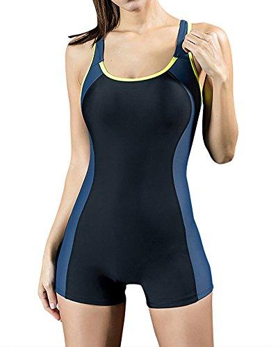 Bañador Pieza Traje de Baño Traje de Natación con Pantalones Cortos para Mujer EU 40 Gris Oscuro