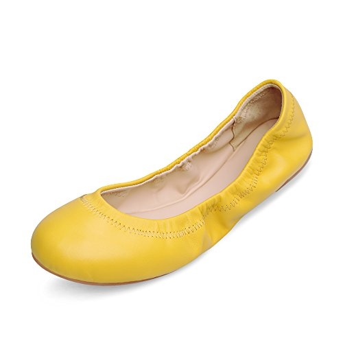 Xielong Women's Emmie Chaste Ballet Flat Lambskin Loafers Casual Ladies Shoes Leather (5B(M) US, Bright Yellow)