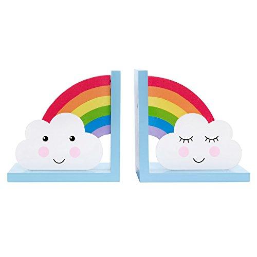 Sass & Belle - Juego de 2 sujetalibros de madera, diseño de arcoíris y nube