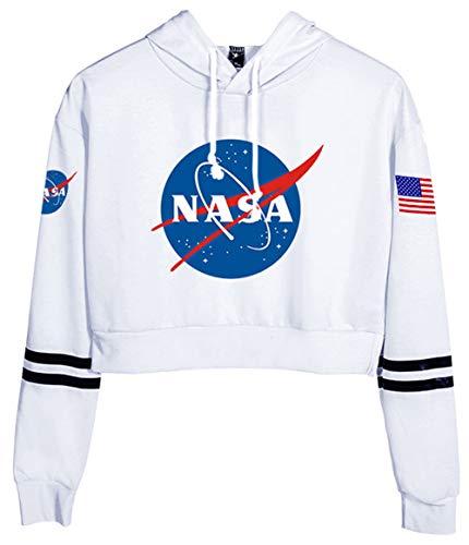 HAOSHENG Mujer Niña NASA Sudaderas con Capucha Sencillo cómodo La Moda Párrafo Corto Deportivo Crop Top Hoodies(S)