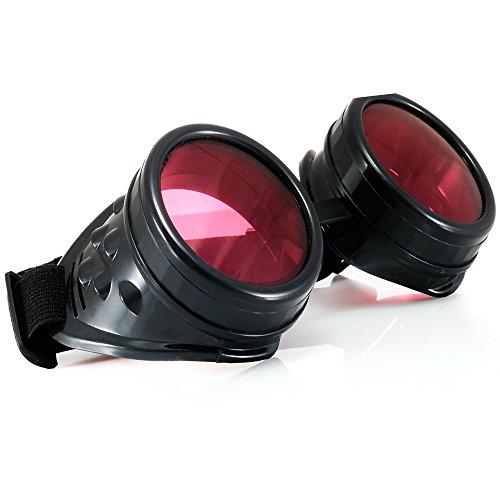 MFAZ Morefaz Ltd Schutzbrille Schweißen Sonnenbrille Welding Cyber Led Goggles Steampunk Goth Round Cosplay Brille Party Fancy Dress (Kaleidoscope Black)