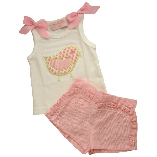 Mud Pie Baby Lil' 3 Chick 2 PC Shorts,White/Pink,0-6 Months