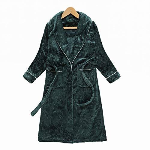 HUAHUA HOMEWEAR Pares del invierno del traje femenino Conjunto palabra de longitud franela manga larga Albornoz Traje caliente continua gruesa Batas unisex súper blando Homewear, Mujeres, L Vendaje