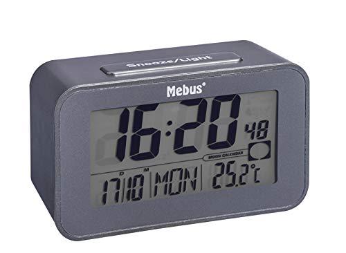 Mebus Funk-Wecker, Kunststoff, Grau, normal