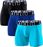 ATHLIO Men's Breathable Underwear, Performance Cooling Mesh Boxer Briefs, Open Fly Trunks with Pouch, Fly 6inch 3pack(ubf06) - Black/Blue/Sky, Large
