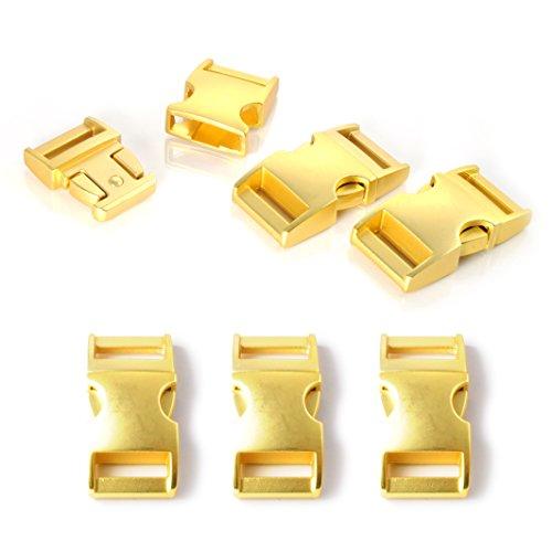"""Fermoir à clip en métal, idéal pour les paracordes (bracelet, collier pour chien, etc), boucle, attache à clipser, grandeur: M, 5/8"""", 40mm x 20mm, couleur: or, de la marque Ganzoo - lot de 3 fermoirs"""