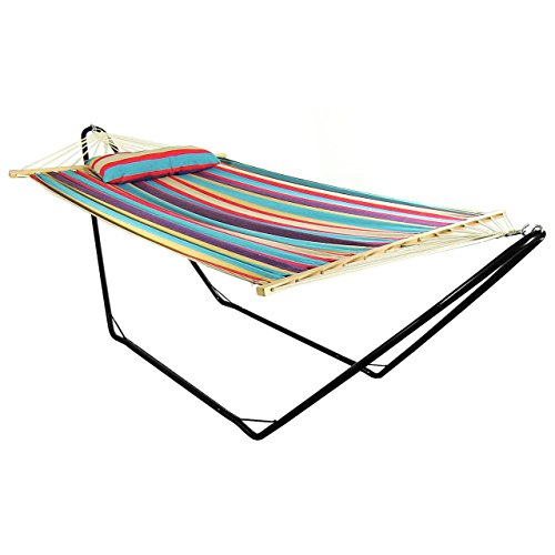 Sunnydaze Cotton Fabric Hammock with 10-Foot Steel Stand, Indoor/Outdoor, Heavy Duty 300-Pound...