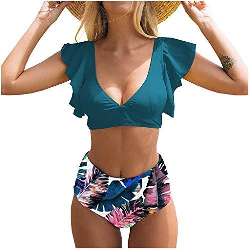 IHEHUA Bikini Damen Boho Bademode Rüschen Beachwear Strandkleidung Sexy Zweiteilige Swimsuit Rückenfrei Bandeau Strandbikini mit Gepolsterter (A-Blau,36)