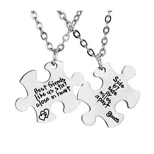 TOYANDONA Juego de 2 collares de los mejores amigos para 2 collares de puzle de correspondencia de la amistad BFF – lado a lado Oa Milla de distancia Juego de collares de mejores amigos