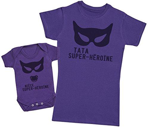 Zarlivia Clothing Nièce Super-Héroïne - Ensemble Tata Bébé Cadeau - Femme T Shirt & bébé Bodys - Violet - XXL & 3-6 Mois