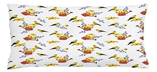 ABAKUHAUS Bloemen Sierkussensloop, Gieters met Vogels, Decoratieve Vierkante Hoes voor Accent Kussen, 90 cm x 40 cm, Veelkleurig