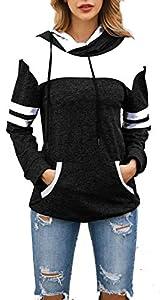 Achruor Kapuzenpullover Hoodies Damen Gestreift Patchwork Pullover Sweatshirts Rollkragen Wintermode Langarmshirt Sport Kapuzenpulli (Black XL)