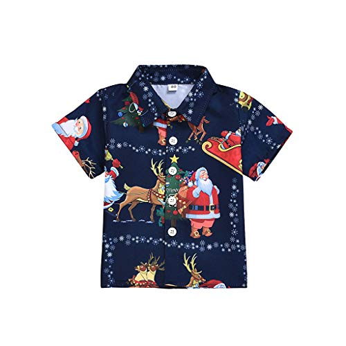 YWLINK Camisa De Navidad NiñO Manga Corta Santa Claus Camiseta con Reno Traje De Fiesta De Navidad Mezcla De AlgodóN Top Casual(Armada,2-3 años/110)