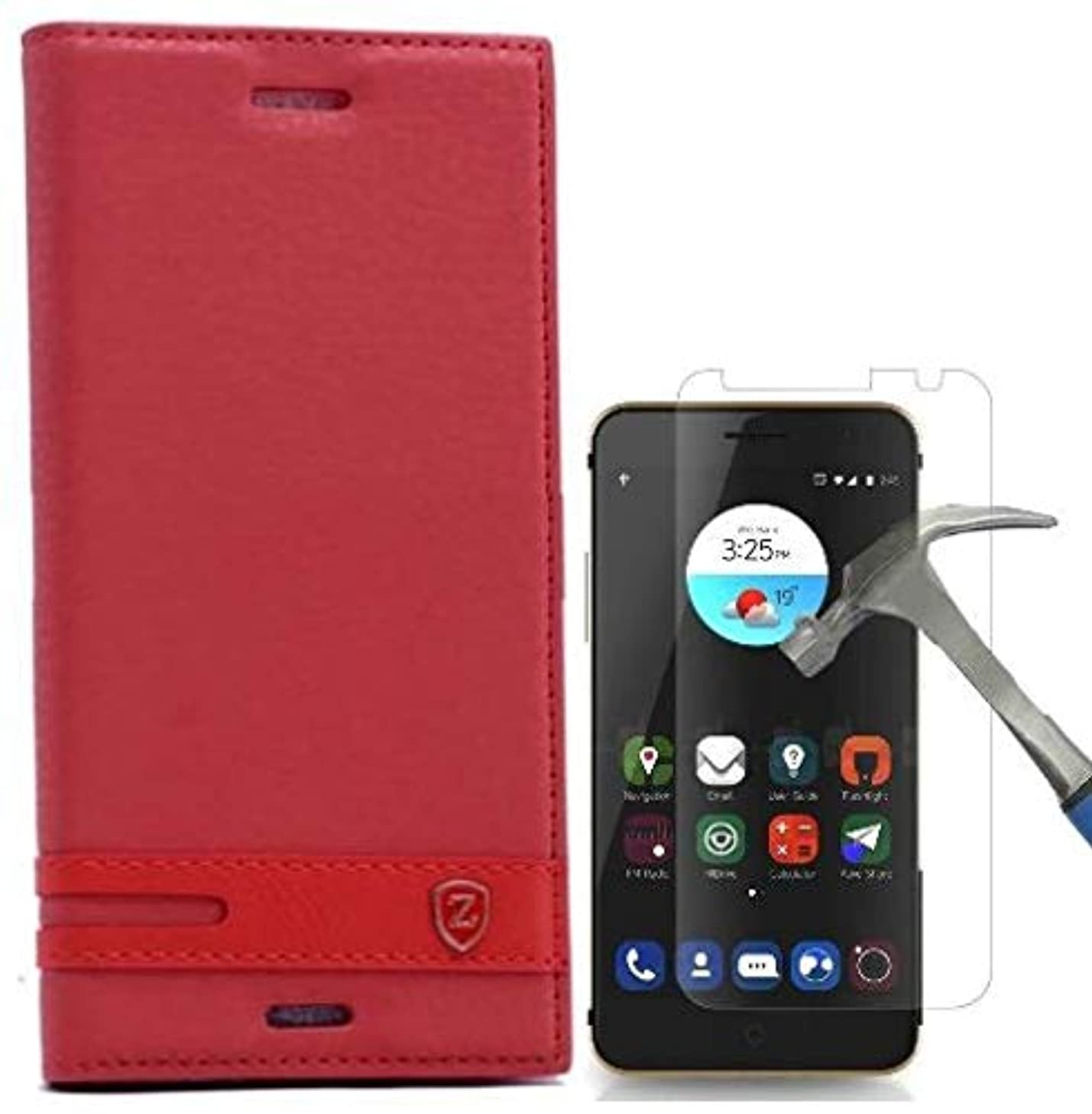 Teleplus for ZTE Blade V7 Zte Magnet Lux Cover Case Red + Glass Screen Protector